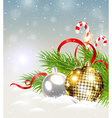 Christmas background with shining golden decoratio vector image