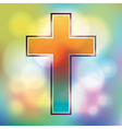 Colorful cross and bokeh lights vector image vector image