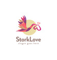 colorful flying stork carrying love logo icon vector image