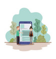 couple with smartphone in landscape avatar vector image vector image