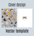 cover design with fur cats pattern vector image vector image