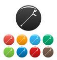 crutch icons set color vector image vector image