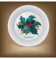 Decorative plate with Christmas holly vector image vector image