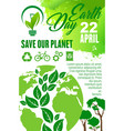 earth day and save planet poster for eco concept vector image vector image