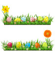 easter border with flowers vector image