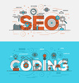 flat design line concept banner seo vector image vector image