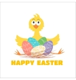 Funny chicken and Easter eggs vector image
