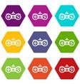 gamepad icon set color hexahedron vector image vector image