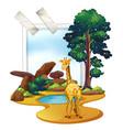 giraffe standing in the savanna field vector image vector image