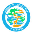 greeting card wildlife day vector image vector image