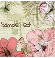 Grungy retro background with flowers and vector image vector image