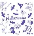 Halloween characters doodle art vector image vector image