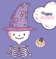 happy halloween celebration skeleton with hat and vector image