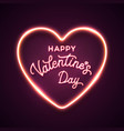 happy valentines day neon letters lettering card vector image