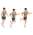 isometric male athlete running jumping athletic vector image