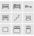 line bed icon set vector image vector image