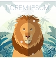 lion on jungle background vector image