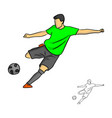 male soccer player shooting for a goal vector image vector image