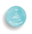 Merry Christmas tree and label in the blue circle vector image vector image