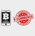 mobile bank icon and distress e-commerce vector image vector image