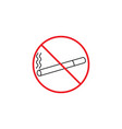 no smoking line icon red prohibited sign vector image