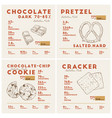 nutrition facts dark chocolate pretzel cookie vector image vector image