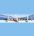 people windboarding windsurfing on frozen river vector image