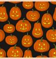 pumpkins jack o lantern tile pattern vector image vector image