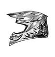 racer helmet on white background vector image vector image