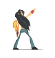 Rock Band Member Funny Character With Long Black vector image vector image