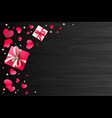 romantic background with paper hearts and present vector image vector image