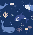 seamless pattern baprint with whales dolphins vector image