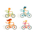 set bicycle rider in flat style modern family vector image