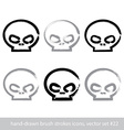 Set of brush drawing simple human skulls vector image