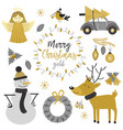Set of isolated christmas gold characters vector image