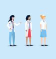 set professional woman doctors and nurse vector image vector image