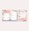 set weekly planner and to-do-list templates vector image vector image