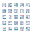 site flow wire frame ui kits flat icons pack vector image vector image