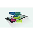 tablet with graphic pie vector image vector image