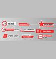 tv news bars set vector image vector image
