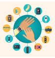 Wearable Technology Flat Circle Composition Poster vector image