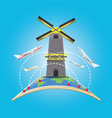 windmill architecture with airplane and earth vector image vector image