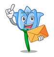 with envelope bell flower character cartoon vector image