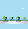 cyclists riding bicycle on bike lane vector image