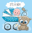 baby boy with baby carriage and teddy bear vector image