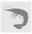 monochrome icon with prawn vector image
