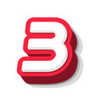 3d bold funny number 3 heavy type for modern vector image