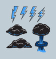black cloud and bolt collection vector image