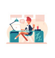 cartoon girl sitting at workplace vector image vector image