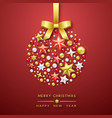 christmas ball background with shining stars bow vector image